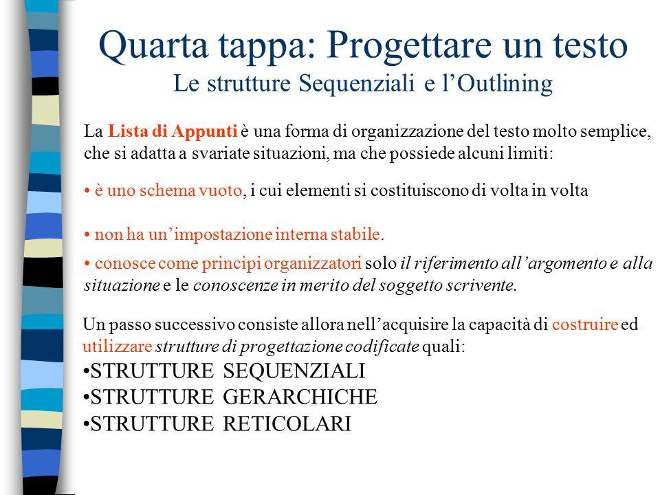 Quarta tappa: Progettare un testo Le strutture Sequenziali e l'Outlining