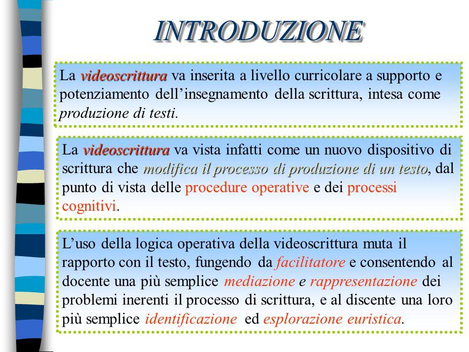 INTRODUZIONE La videoscrittura va inserita a livello curricolare a supporto e. potenziamento dell'insegnamento della scrittura, intesa come.