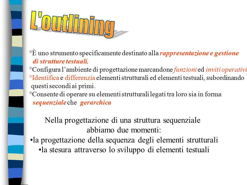 L outlining È uno strumento specificamente destinato alla rappresentazione e gestione di strutture testuali.