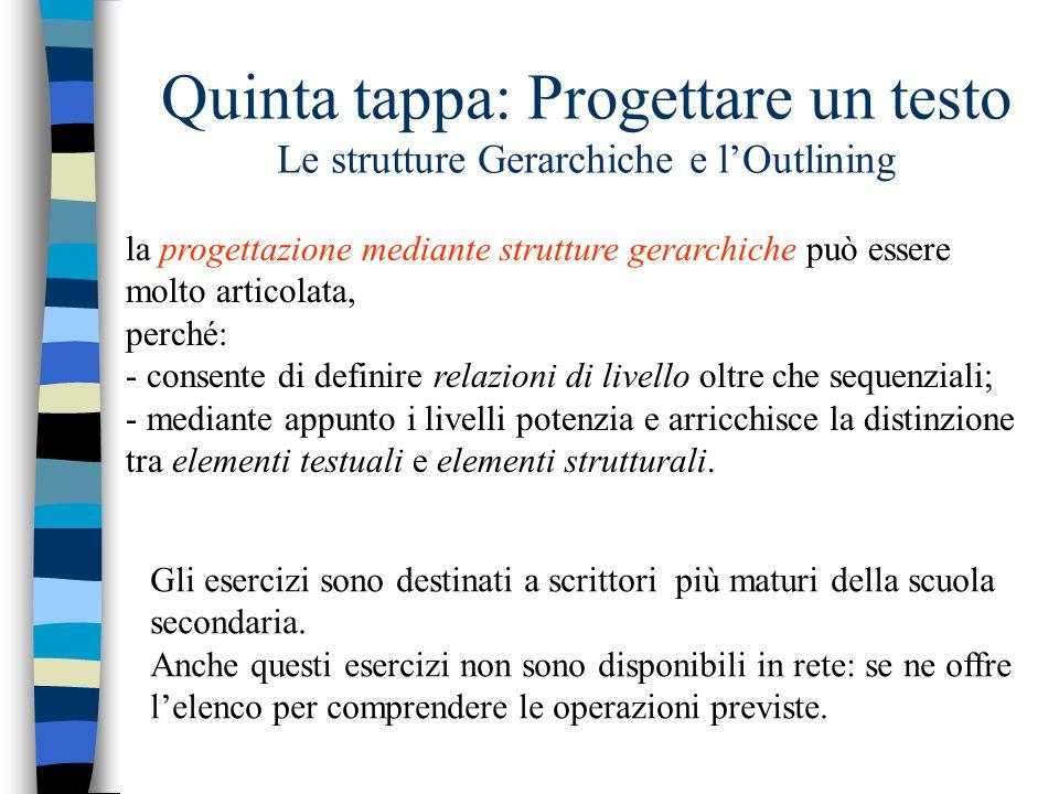 Quinta tappa: Progettare un testo Le strutture Gerarchiche e l'Outlining