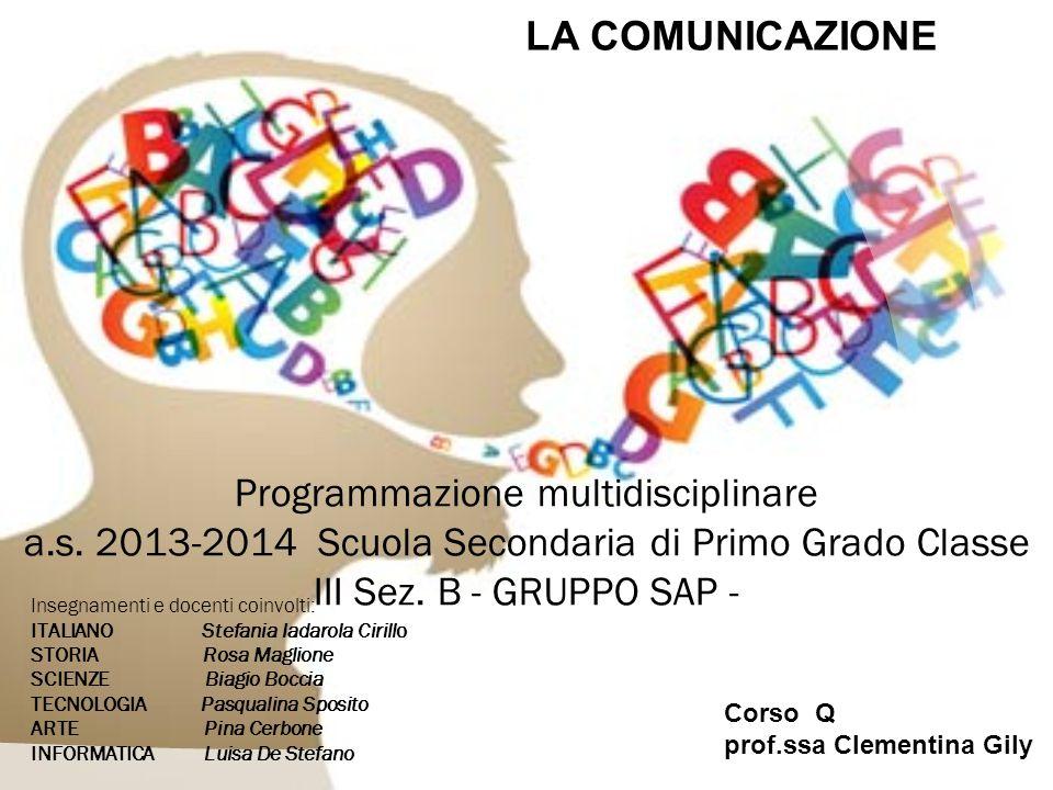 LA COMUNICAZIONE Programmazione multidisciplinare a.s. 2013-2014 Scuola Secondaria di Primo Grado Classe III Sez. B - GRUPPO SAP -