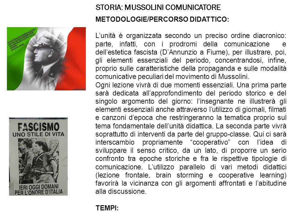 STORIA: MUSSOLINI COMUNICATORE