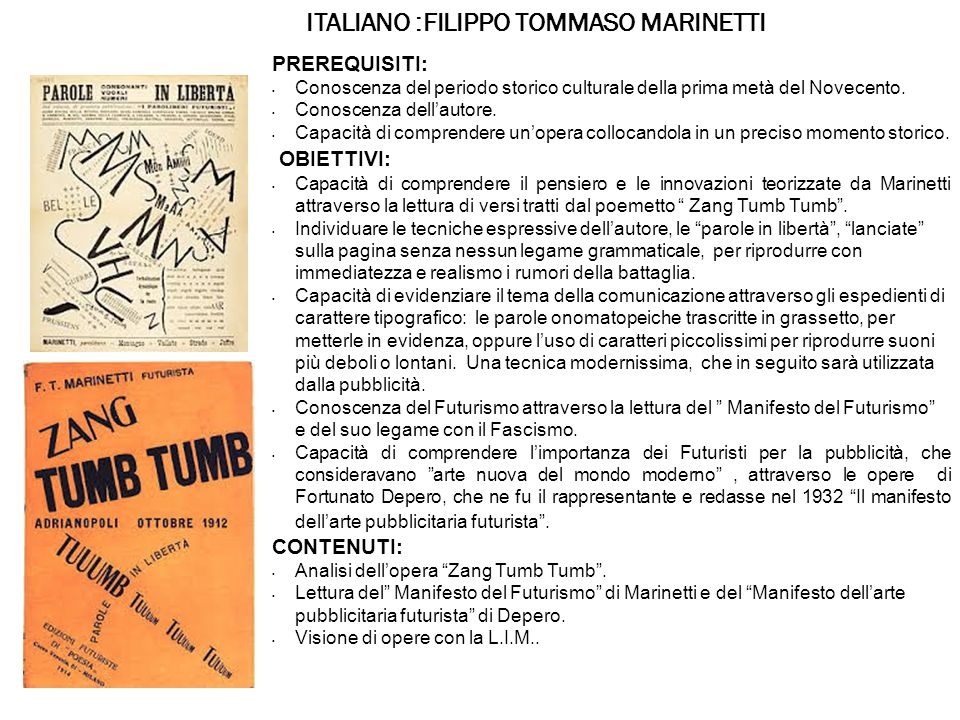 ITALIANO :FILIPPO TOMMASO MARINETTI