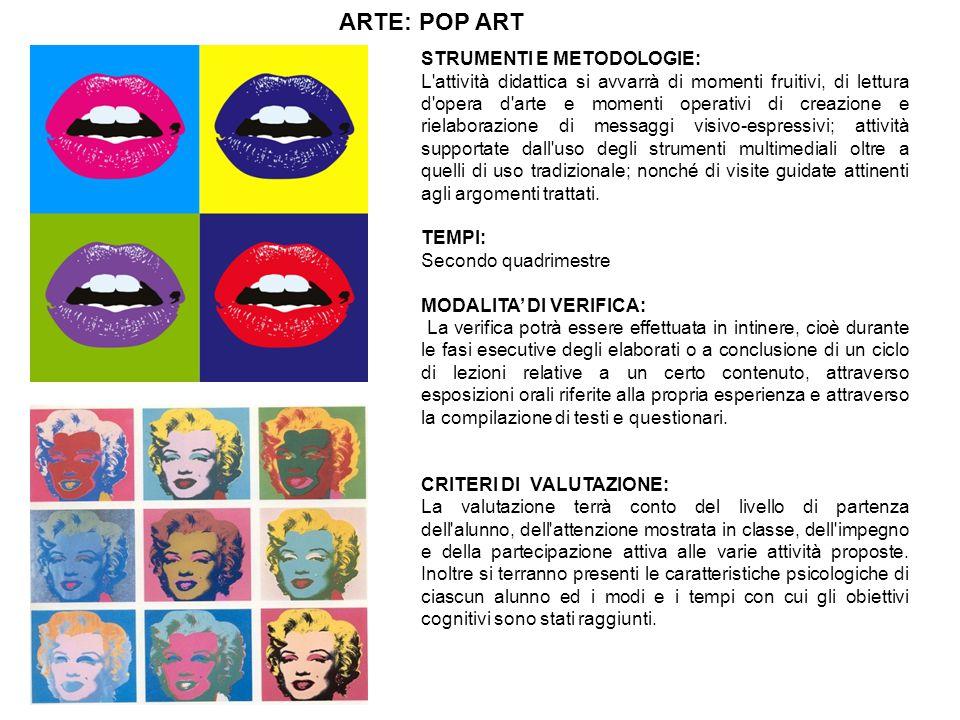 ARTE: POP ART STRUMENTI E METODOLOGIE: