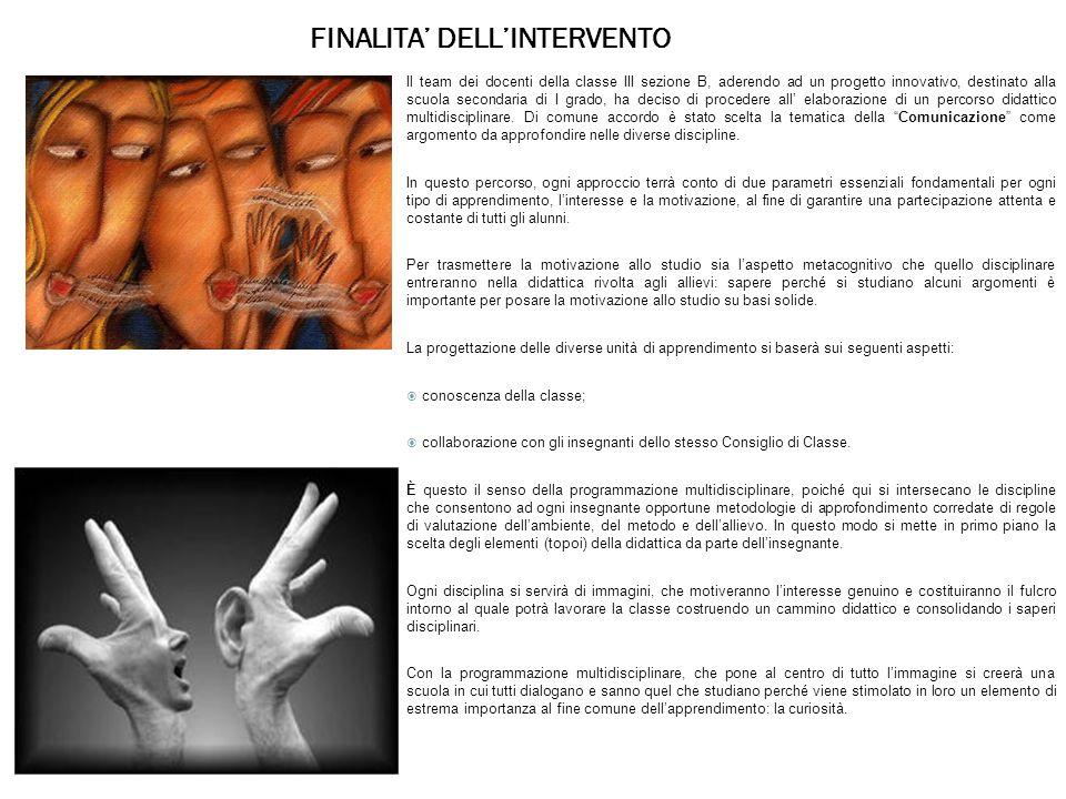 FINALITA' DELL'INTERVENTO