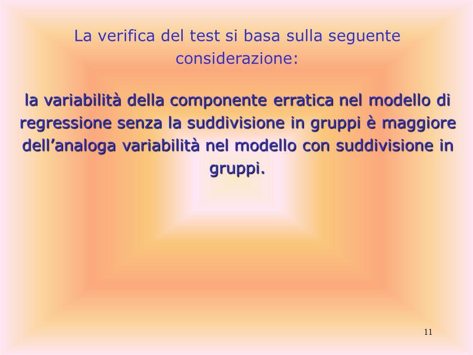 La verifica del test si basa sulla seguente considerazione: