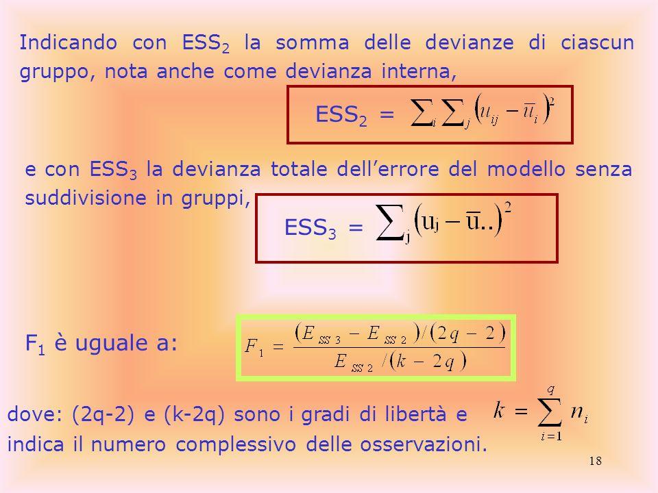 Indicando con ESS2 la somma delle devianze di ciascun gruppo, nota anche come devianza interna,