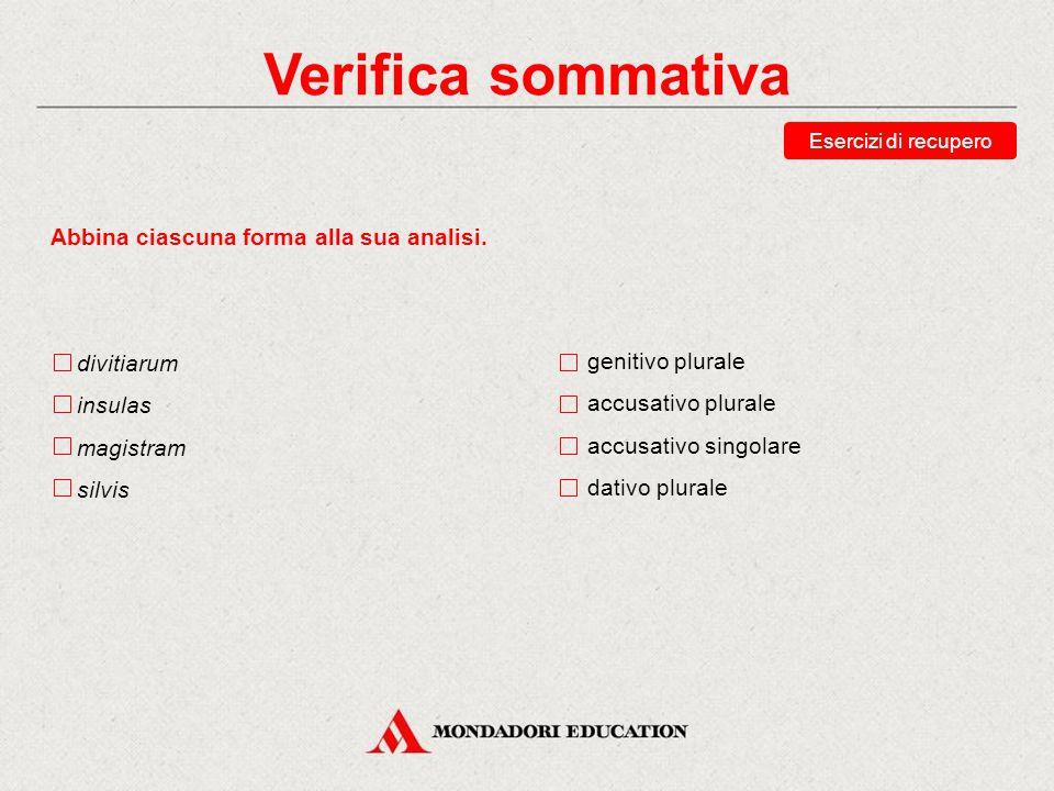 Verifica sommativa Abbina ciascuna forma alla sua analisi. divitiarum