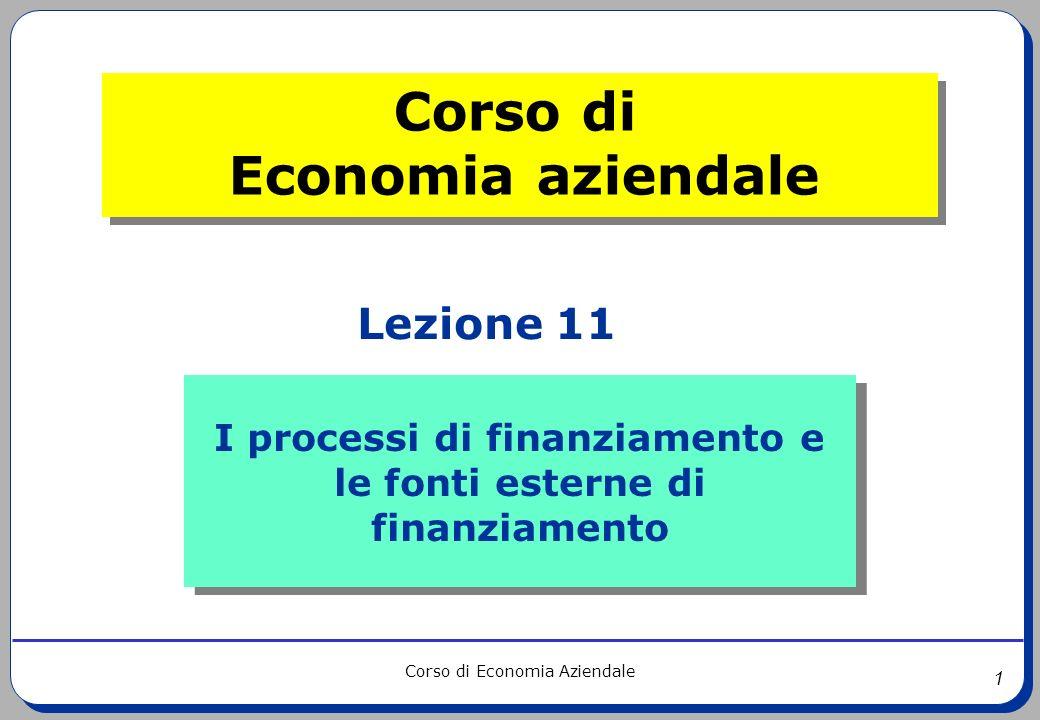 I processi di finanziamento e le fonti esterne di finanziamento