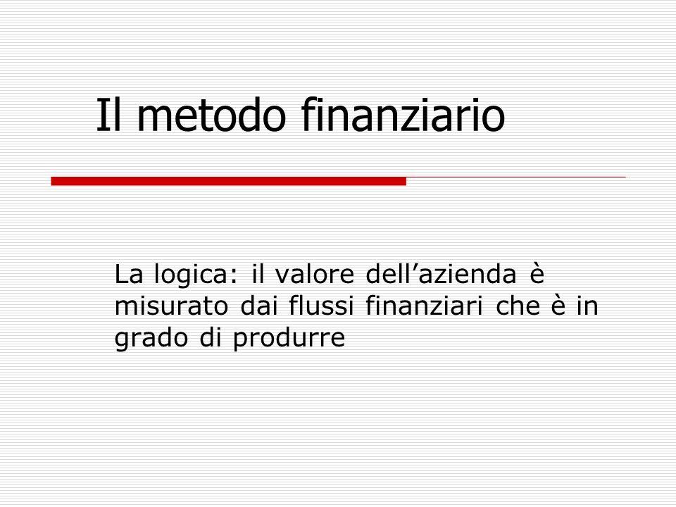 Il metodo finanziario La logica: il valore dell'azienda è misurato dai flussi finanziari che è in grado di produrre.
