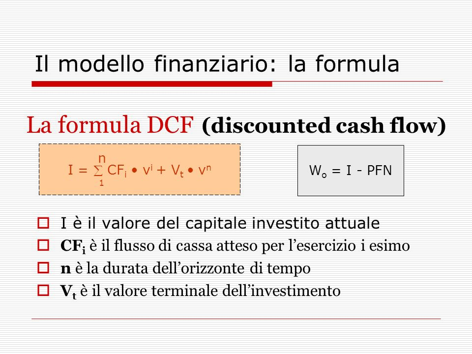 Il modello finanziario: la formula