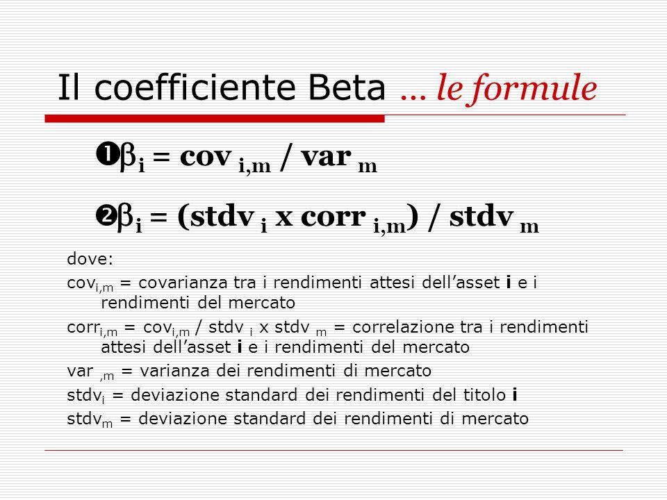 Il coefficiente Beta … le formule