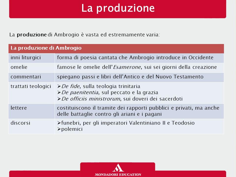 La produzione La produzione di Ambrogio è vasta ed estremamente varia: