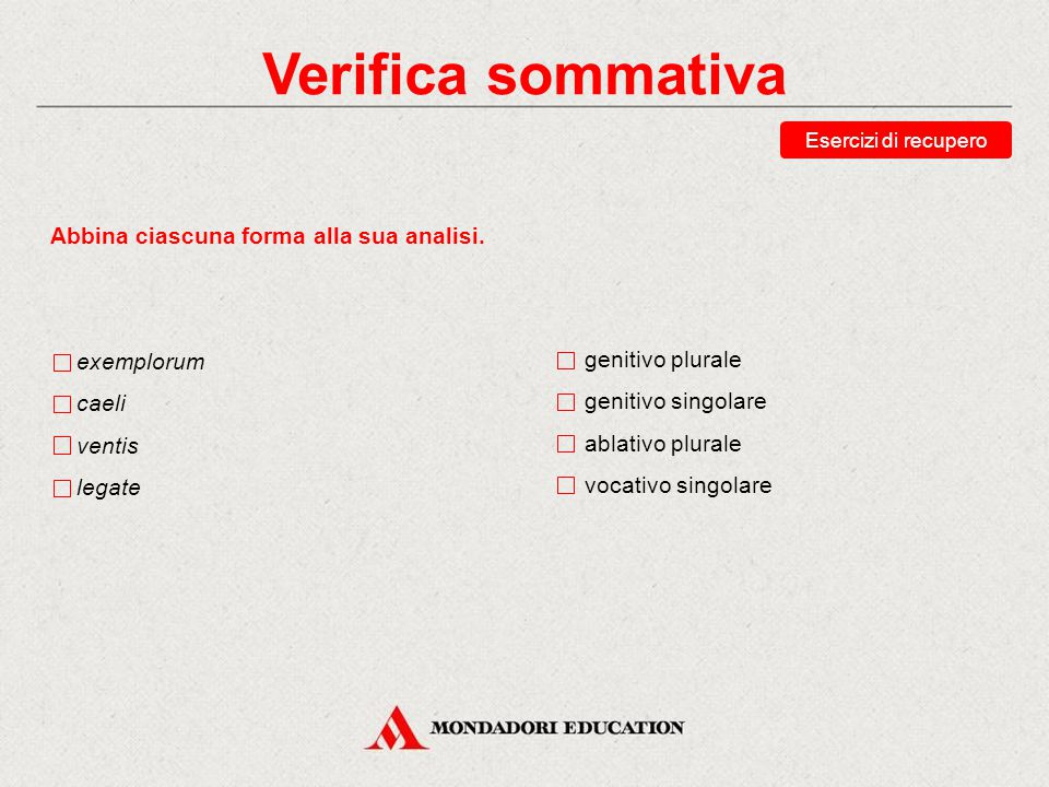 Verifica sommativa Abbina ciascuna forma alla sua analisi. exemplorum