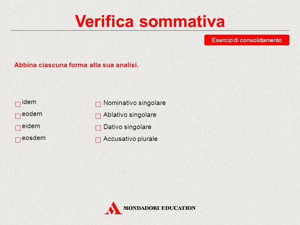 Verifica sommativa Abbina ciascuna forma alla sua analisi. idem