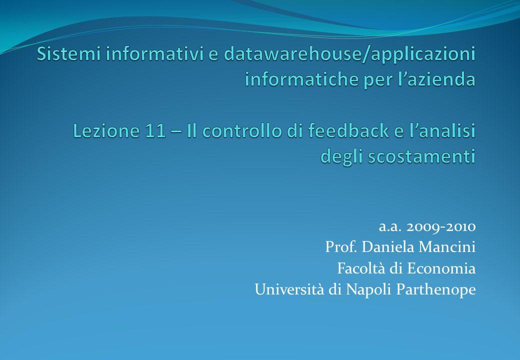 Sistemi informativi e datawarehouse/applicazioni informatiche per l'azienda Lezione 11 – Il controllo di feedback e l'analisi degli scostamenti