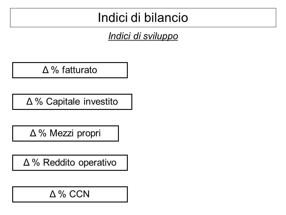 Indici di bilancio Indici di sviluppo Δ % fatturato