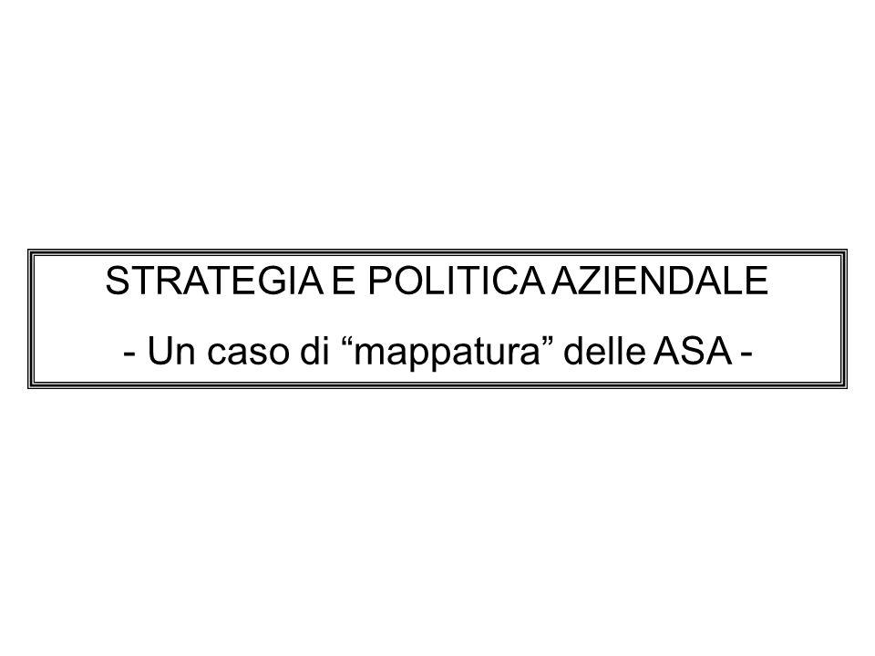 STRATEGIA E POLITICA AZIENDALE - Un caso di mappatura delle ASA -