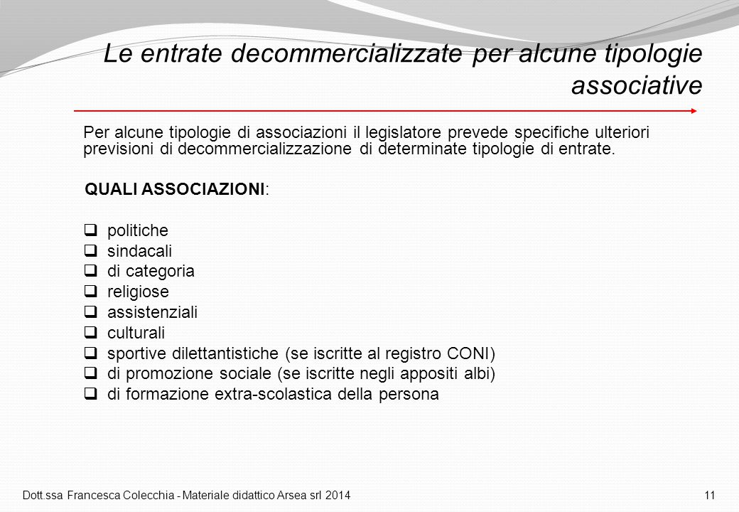 Le entrate decommercializzate per alcune tipologie associative
