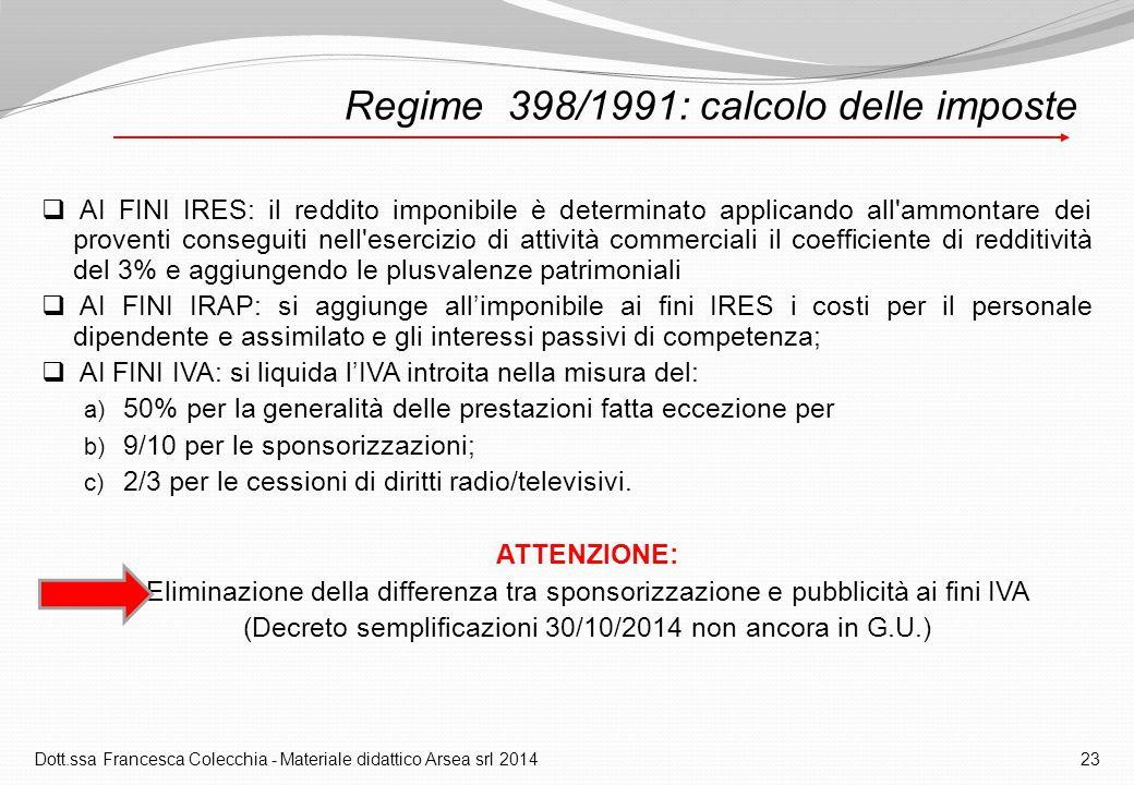 Regime 398/1991: calcolo delle imposte