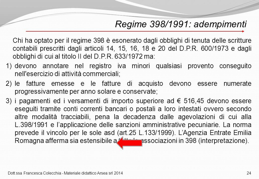Dott.ssa Francesca Colecchia - Materiale didattico Arsea srl 2014 24