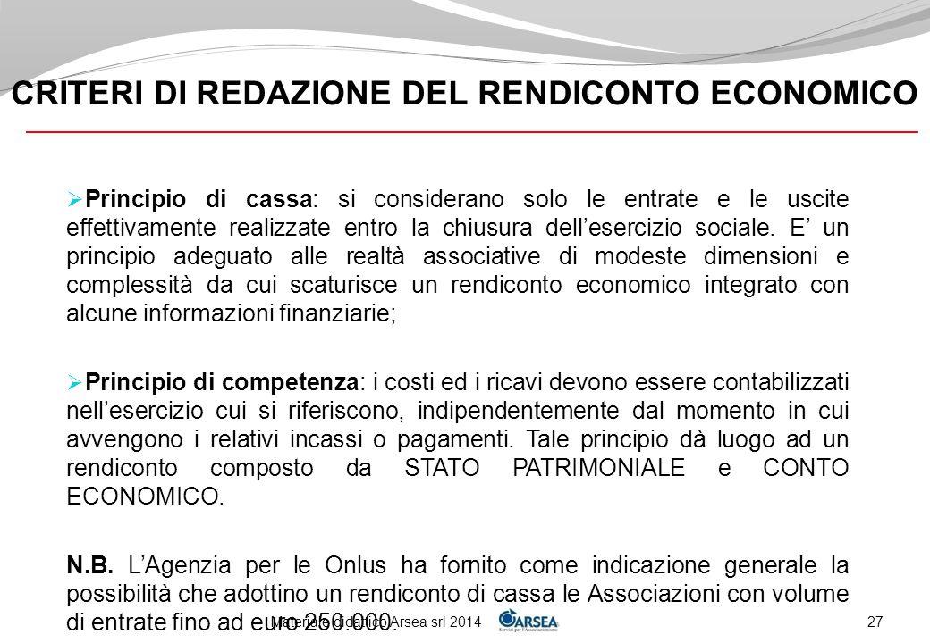 CRITERI DI REDAZIONE DEL RENDICONTO ECONOMICO
