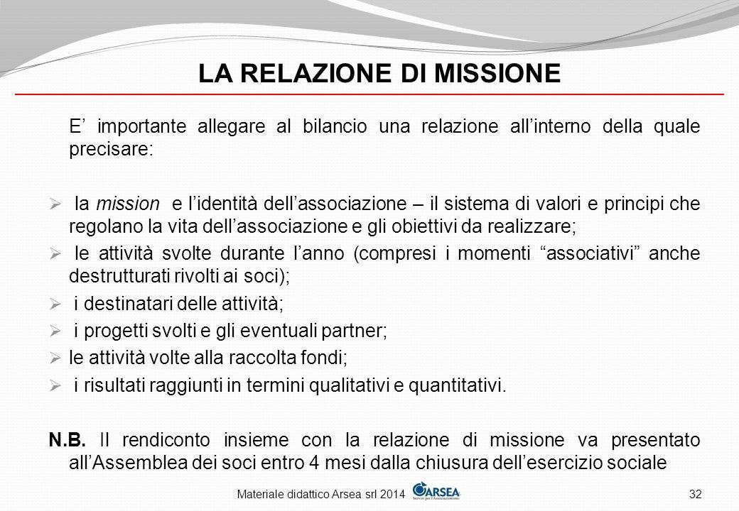 LA RELAZIONE DI MISSIONE