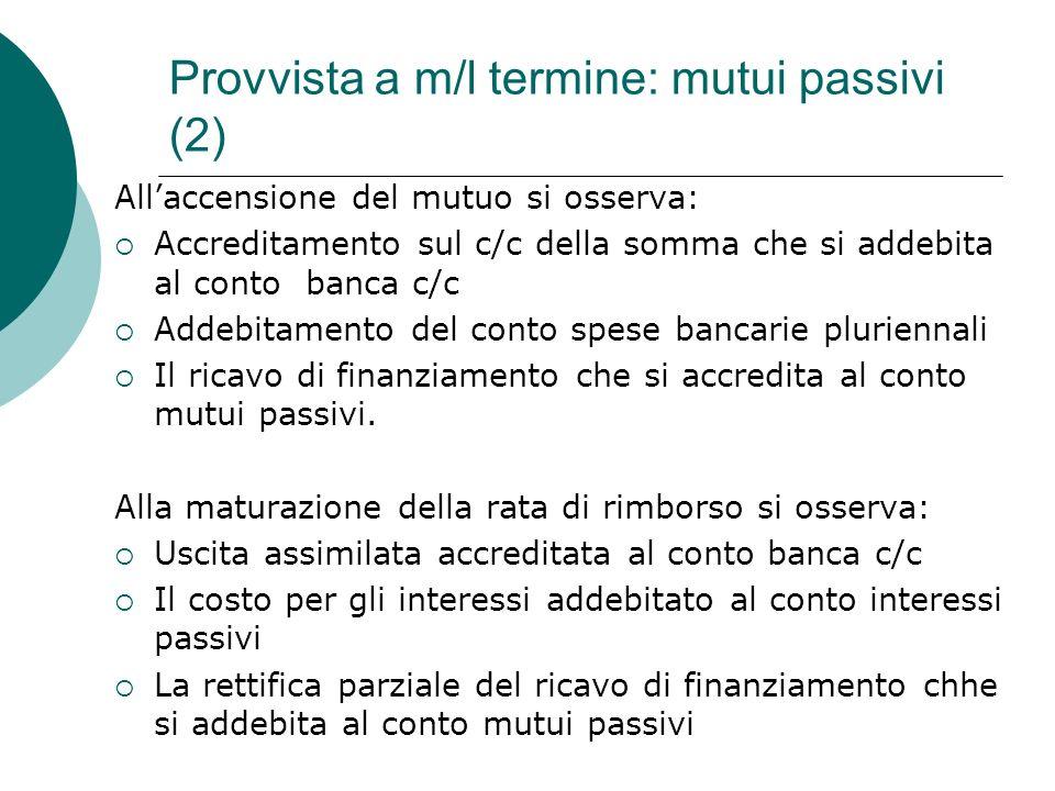 Provvista a m/l termine: mutui passivi (2)