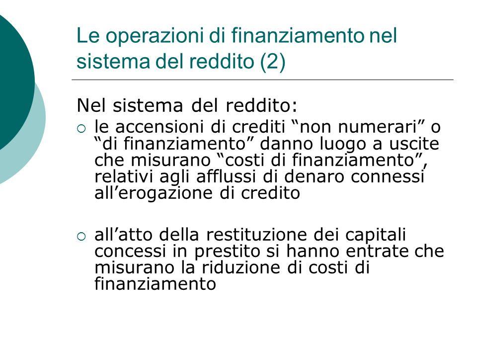 Le operazioni di finanziamento nel sistema del reddito (2)