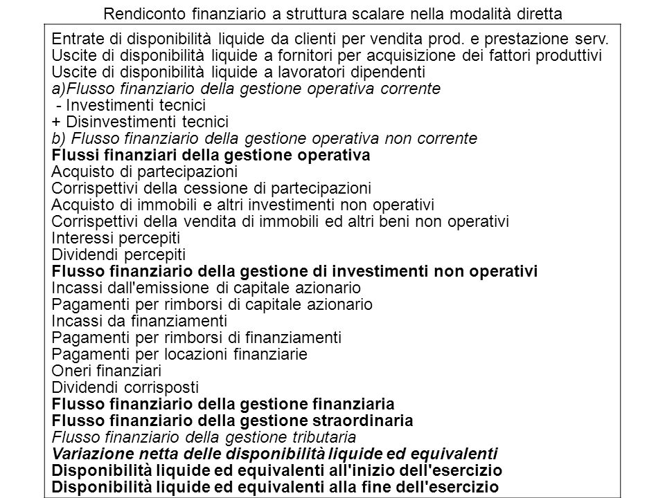 Rendiconto finanziario a struttura scalare nella modalità diretta