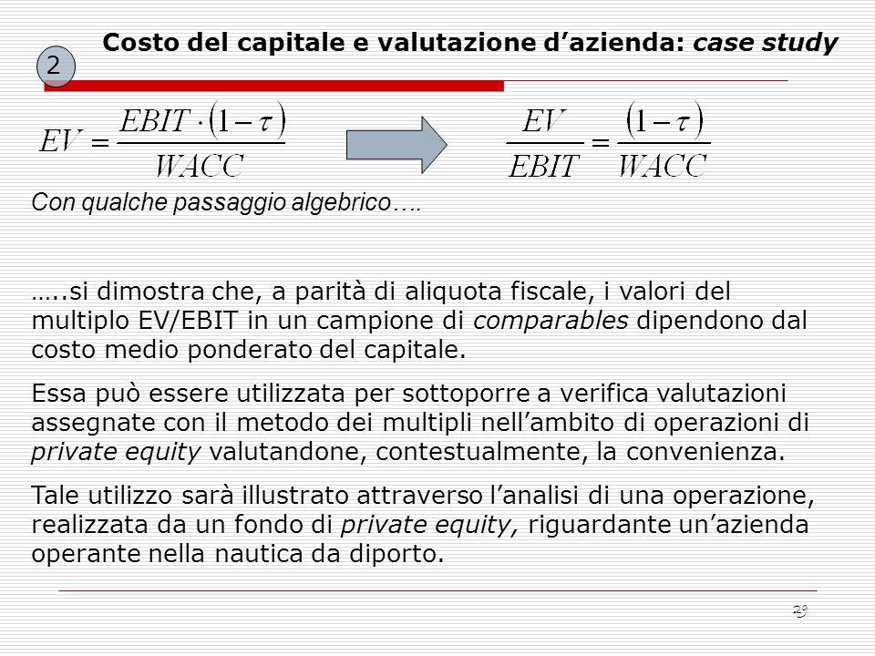 Costo del capitale e valutazione d'azienda: case study
