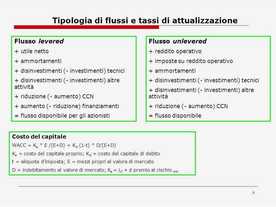 Tipologia di flussi e tassi di attualizzazione