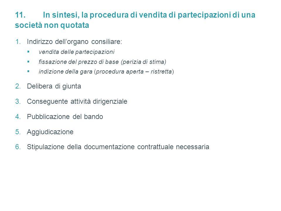 11. In sintesi, la procedura di vendita di partecipazioni di una società non quotata