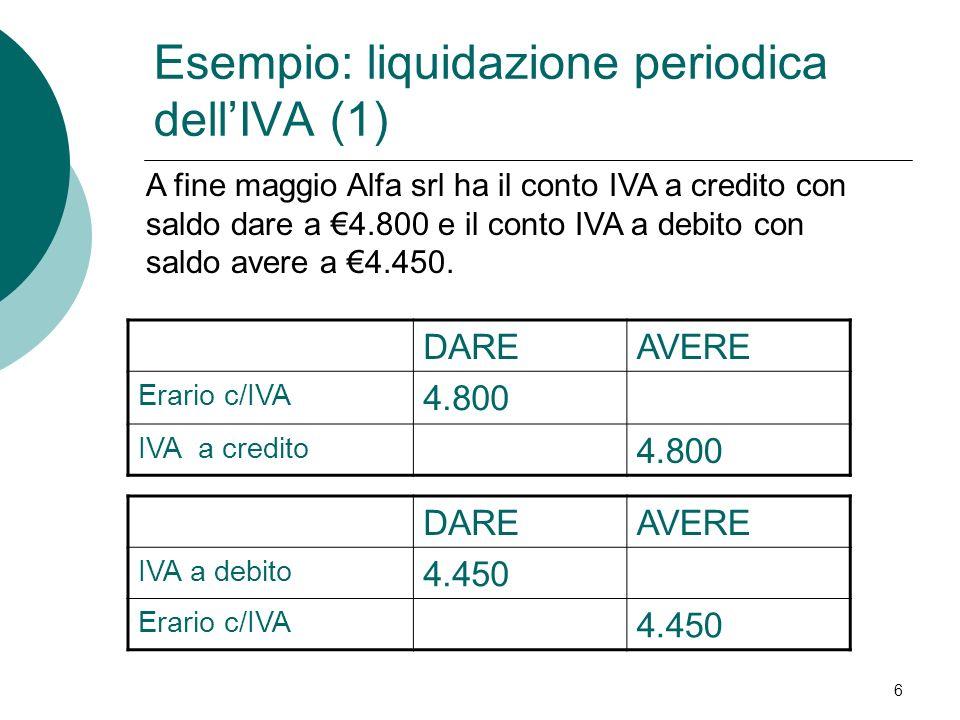 Esempio: liquidazione periodica dell'IVA (1)