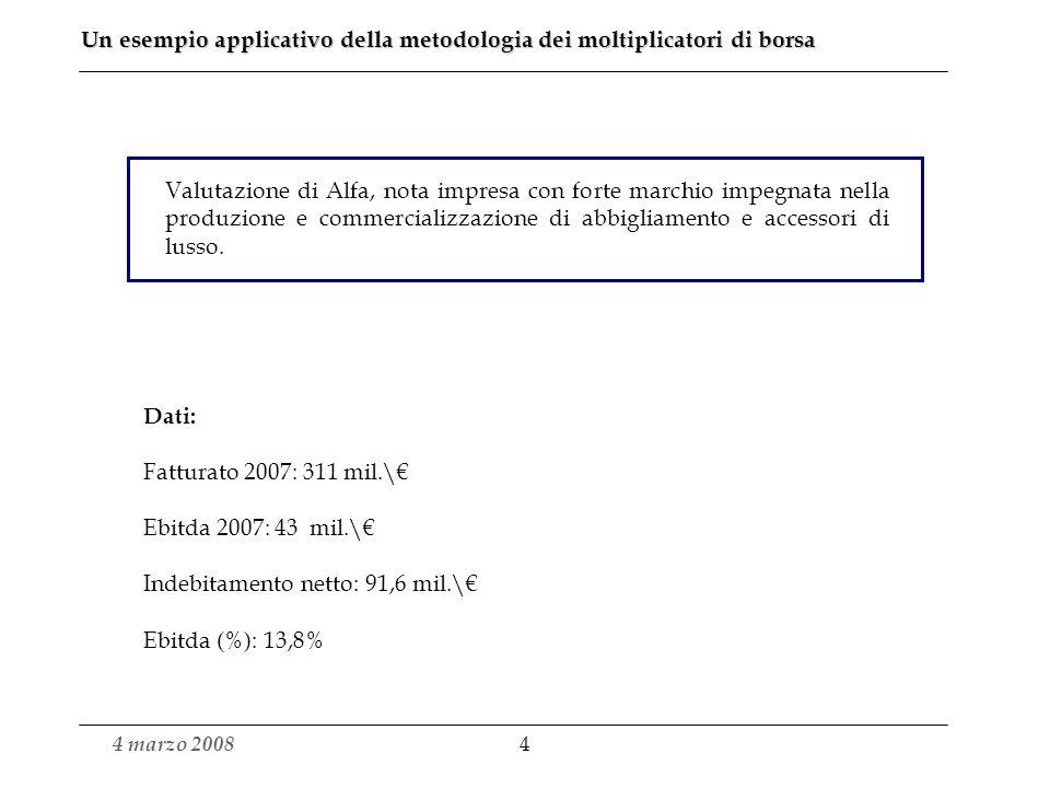 Un esempio applicativo della metodologia dei moltiplicatori di borsa