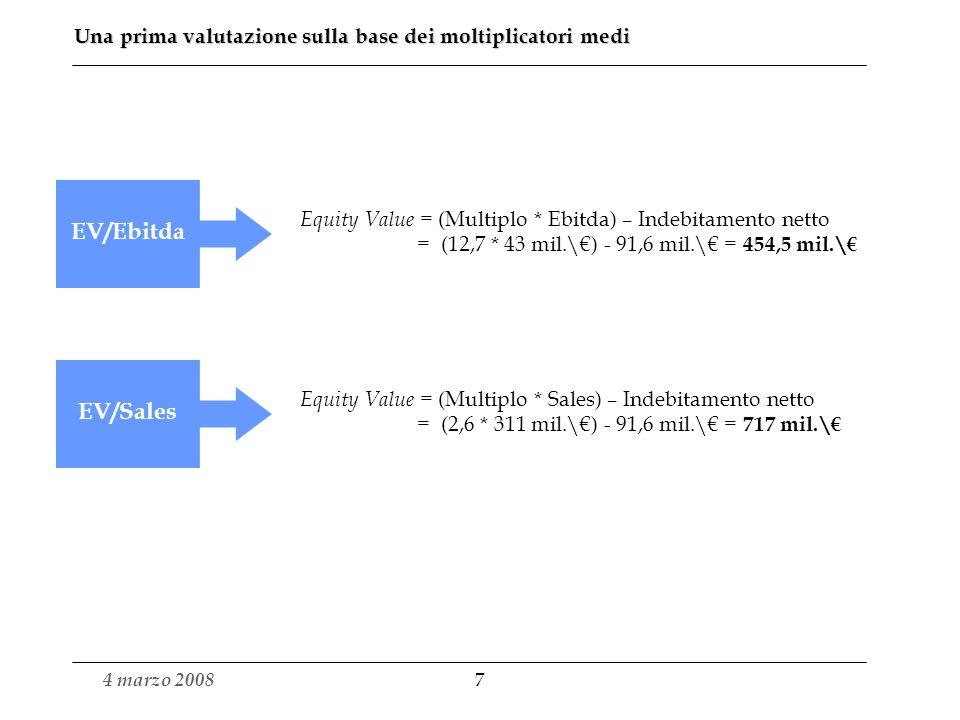 Una prima valutazione sulla base dei moltiplicatori medi