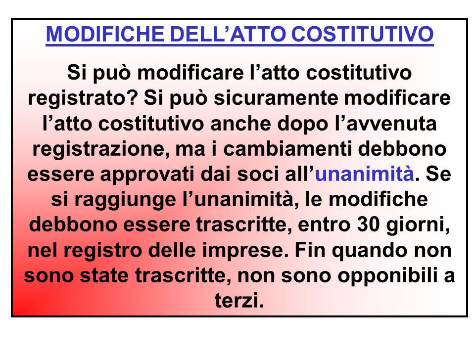 MODIFICHE DELL'ATTO COSTITUTIVO