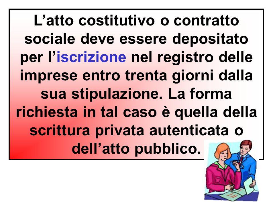 L'atto costitutivo o contratto sociale deve essere depositato per l'iscrizione nel registro delle imprese entro trenta giorni dalla sua stipulazione.