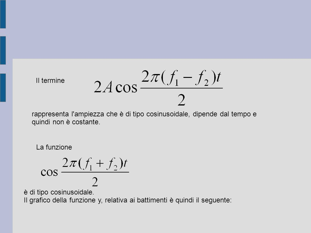 Il termine rappresenta l ampiezza che è di tipo cosinusoidale, dipende dal tempo e quindi non è costante.