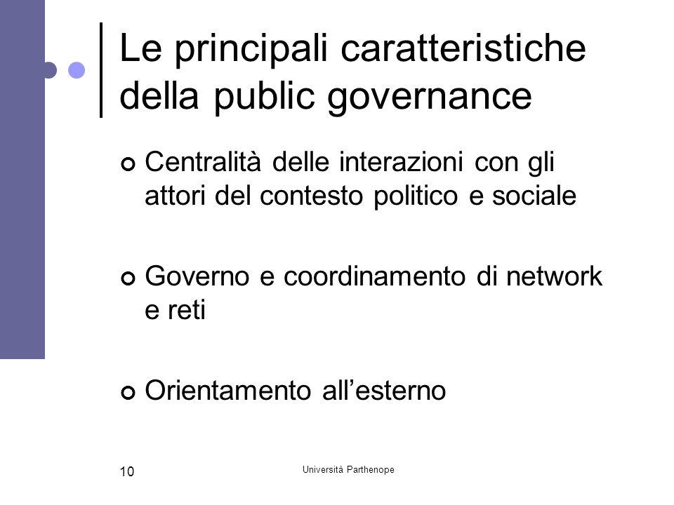 Le principali caratteristiche della public governance