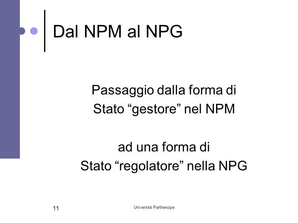 Dal NPM al NPG Passaggio dalla forma di Stato gestore nel NPM