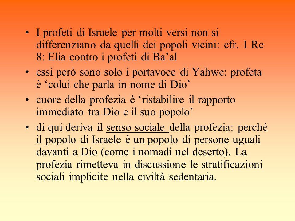 I profeti di Israele per molti versi non si differenziano da quelli dei popoli vicini: cfr. 1 Re 8: Elia contro i profeti di Ba'al