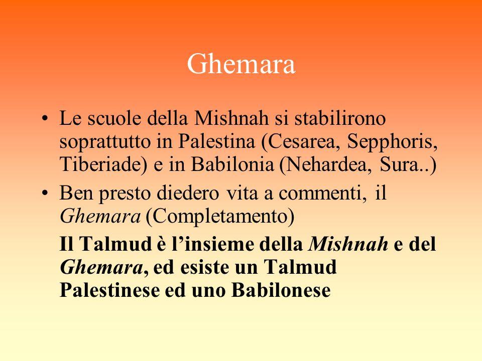 Ghemara Le scuole della Mishnah si stabilirono soprattutto in Palestina (Cesarea, Sepphoris, Tiberiade) e in Babilonia (Nehardea, Sura..)