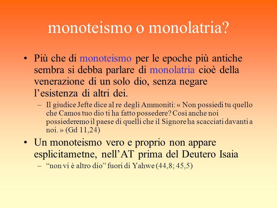 monoteismo o monolatria