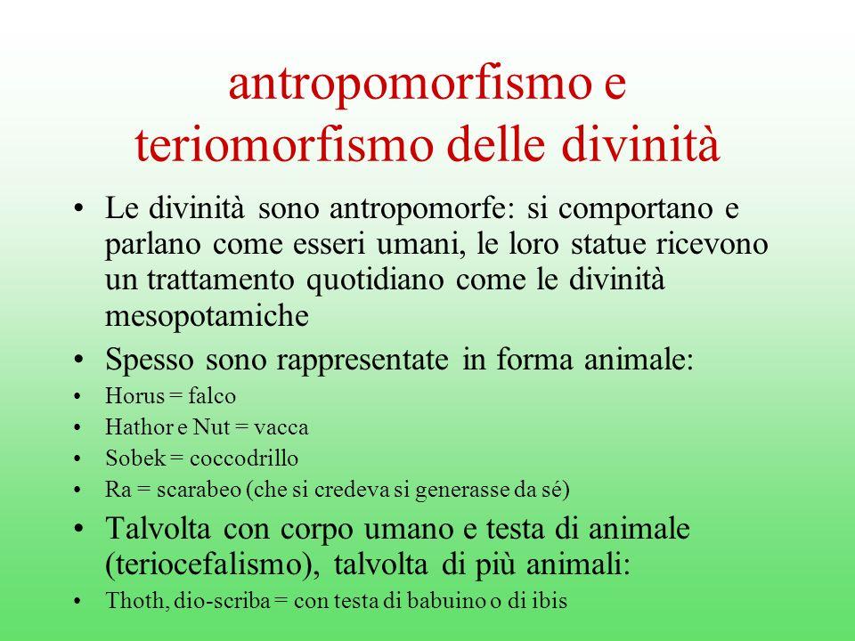 antropomorfismo e teriomorfismo delle divinità
