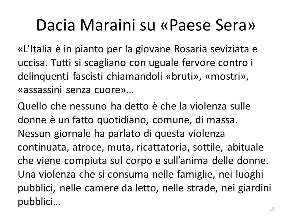 Dacia Maraini su «Paese Sera»