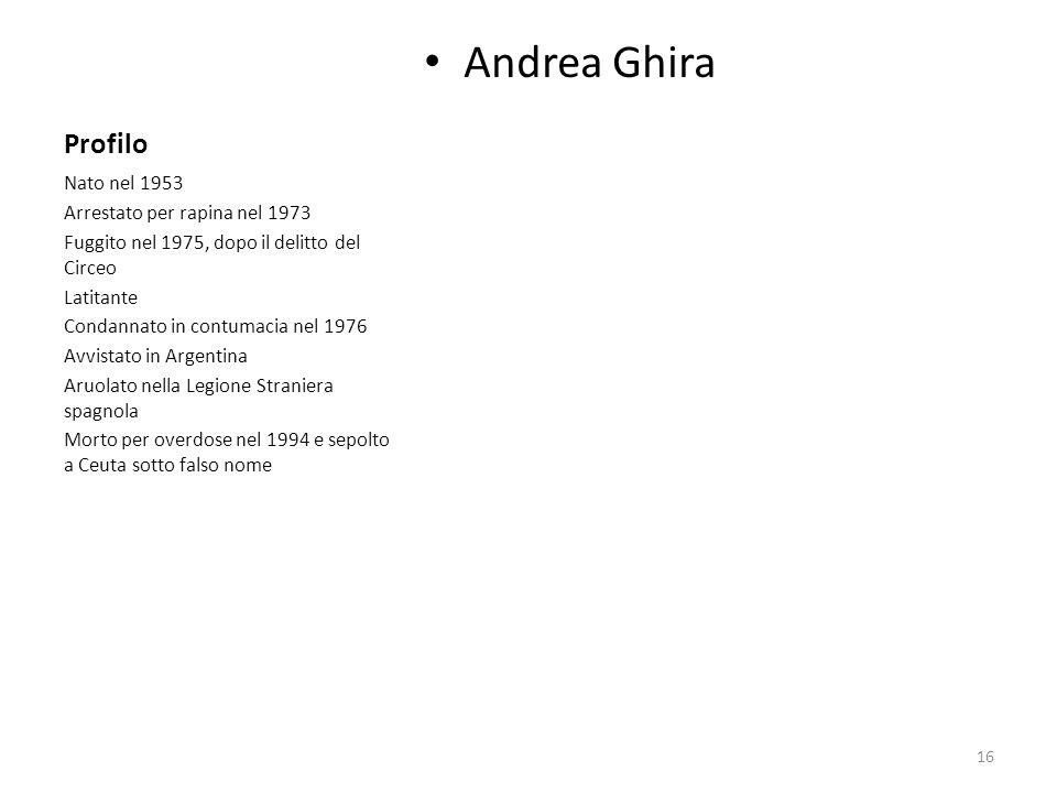 Andrea Ghira Profilo Nato nel 1953 Arrestato per rapina nel 1973