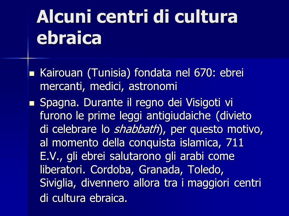 Alcuni centri di cultura ebraica