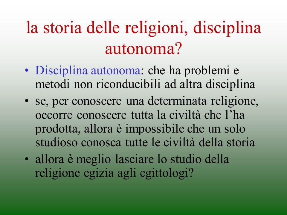 la storia delle religioni, disciplina autonoma