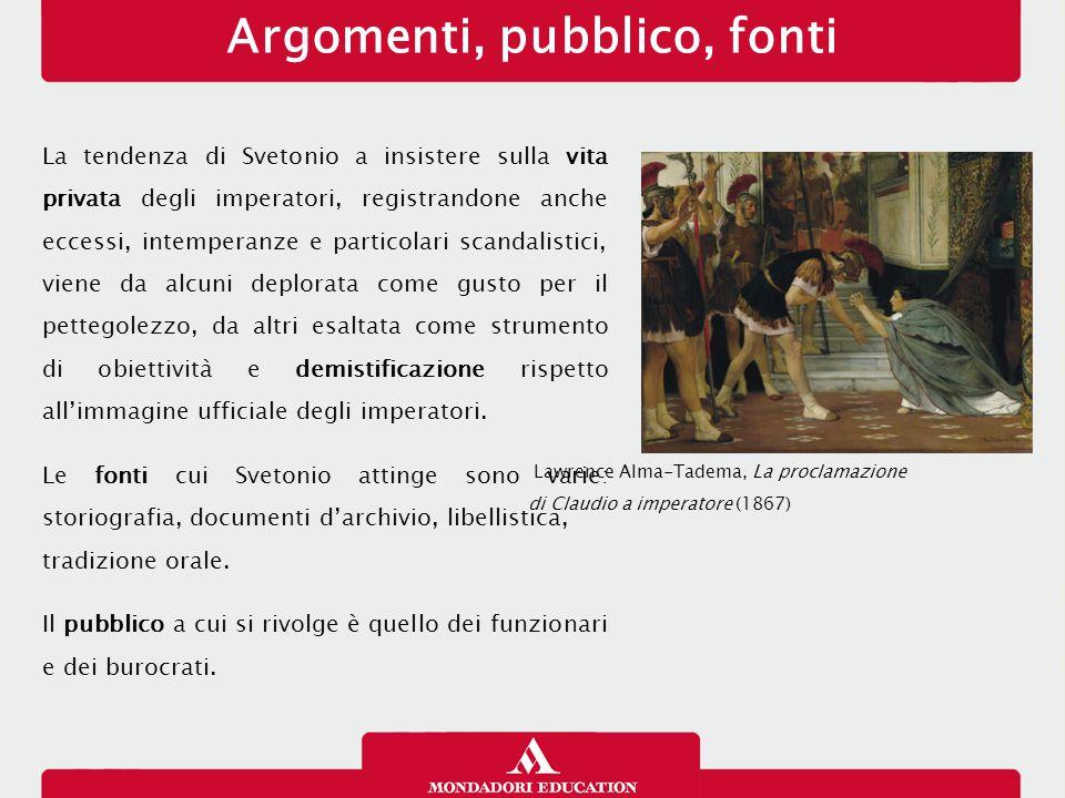 Argomenti, pubblico, fonti